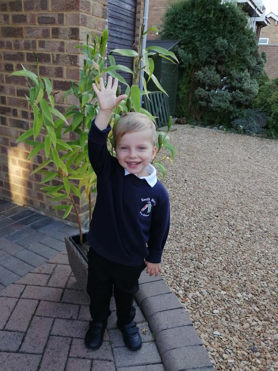 Four-year-old boy on his first day of school