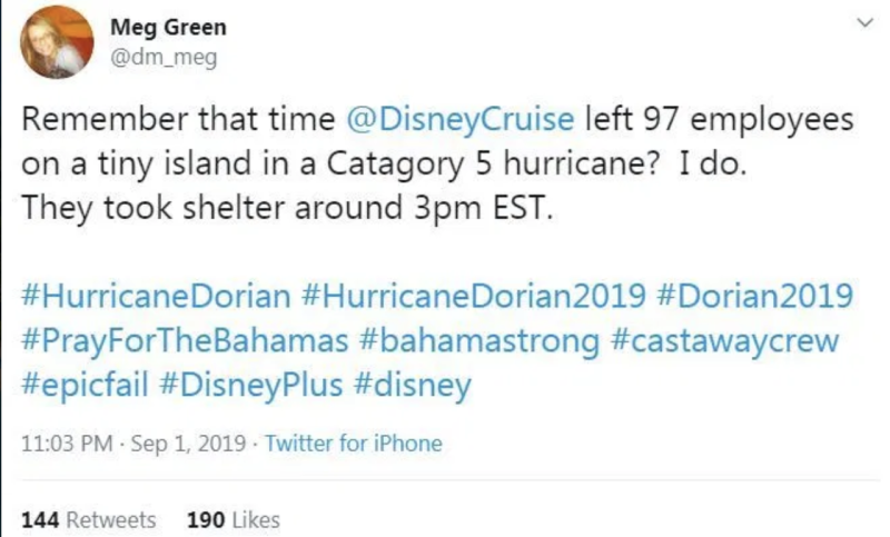 Twitter user dm_meg, whose account was deleted, complained that her sister, a Disney Cruise Line employee, was stranded on a private island during Hurricane Dorian. (Screenshot: The Sun/Twitter)