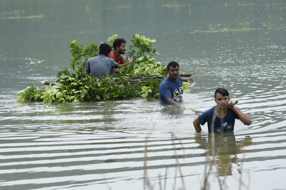 Villagers carry tree leaves for cattle, in a flood affected village in Morigaon district of Assam, in India on Monday, 20 July 2020. (Photo by David Talukdar/NurPhoto via Getty Images)