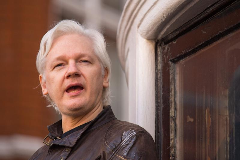 Julian Assange, pictured at Ecuador's embassy in London in May 2017.