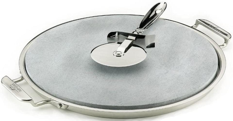 <p>For crispy, golden-brown crust pizzas, look no further than this <span>All-Clad 00280 Stainless Steel Serving Tray with 13-inch Pizza-Baker Stone Insert and Pizza Cutter</span> ($125), which absorbs moisture and heat evenly to produce your pies.</p>