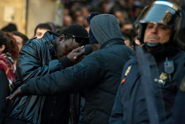 More than a thousand protesters gathered in memory of a Senegalese street vendor in Madrid on Friday
