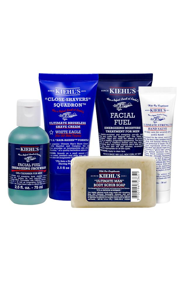 """<p><strong>KIEHL'S SINCE 1851</strong></p><p>nordstrom.com</p><p><strong>$48.00</strong></p><p><a rel=""""nofollow"""" href=""""https://shop.nordstrom.com/s/kiehls-since-1851-mens-grab-go-essentials-set-66-value/5085787"""">SHOP NOW</a></p><p>With shaving cream, soap, face wash, and moisturizer, your man won't have a patch of <a rel=""""nofollow"""" href=""""https://www.womansday.com/style/beauty/a61078/best-hand-cream-dry-cracked-hands/"""">dry skin</a> in sight.</p>"""