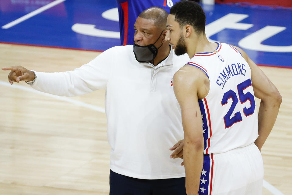 Doc Rivers and Ben Simmons with the 76ers.