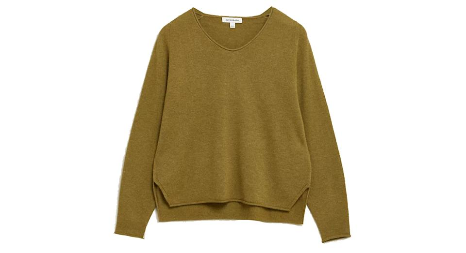 Merino Wool V-Neck Jumper with Cashmere