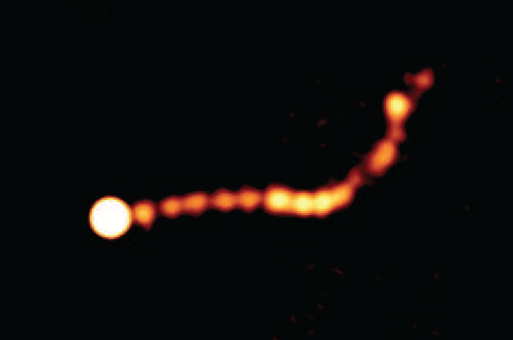 The jet known as 'PKS 0637-752' as seen by the Australia Telescope Compact Array (ATCA) in New South Wales, Australia clearly showing the shock diamond-like shapes in the two million light year long structure.