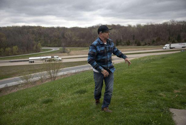 PHOTO: Chad Pregracke talks about his idea to repurpose the Interstate 80 bridge over the Mississippi River between Iowa and Illinois, on April 11, 2021, near the Mississippi Rapids Rest Stop Eastbound in East Moline, Illinois. (Erin Hooley/Chicago Tribune via TNS via Newscom, FILE)