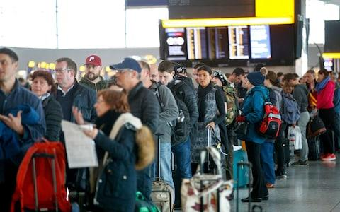 Passengers wait for their delayed and cancelled flights at Heathrow Airport Terminal 5 - Credit: LNP