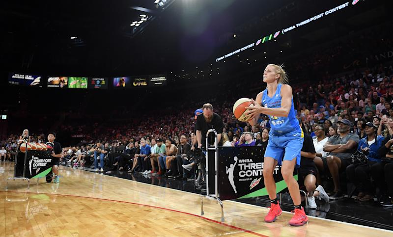 Allie Quigley of the Chicago Sky competes in the 3-Point Contest during the Skills Challenge of the WNBA All-Star Friday Night at the Mandalay Bay Events Center on July 26, 2019 in Las Vegas, Nevada. NOTE TO USER: User expressly acknowledges and agrees that, by downloading and or using this photograph, User is consenting to the terms and conditions of the Getty Images License Agreement. (Photo by Ethan Miller/Getty Images)