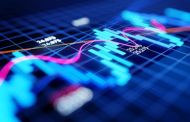 Close up and focused stock market business investment candlestick chart - Economy and trading concept. 3D illustration.