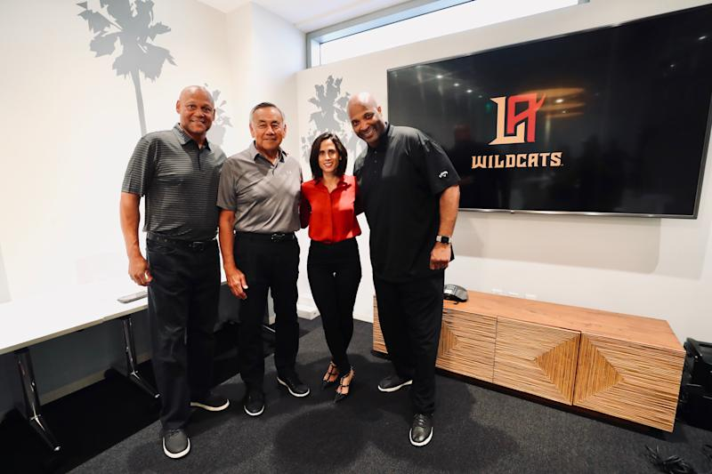 (From left to right) Los Angeles Wildcats wide receiver coach Mike Wilson, offensive coordinator Norm Chow, team president Heather Brooks Karatz and head coach Winston Moss. (Photo courtesy Will Navarro)