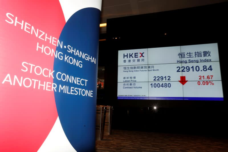 FILE PHOTO: A banner promoting Shenzhen-Hong Kong Stock Connect is displayed at the Hong Kong Exchanges