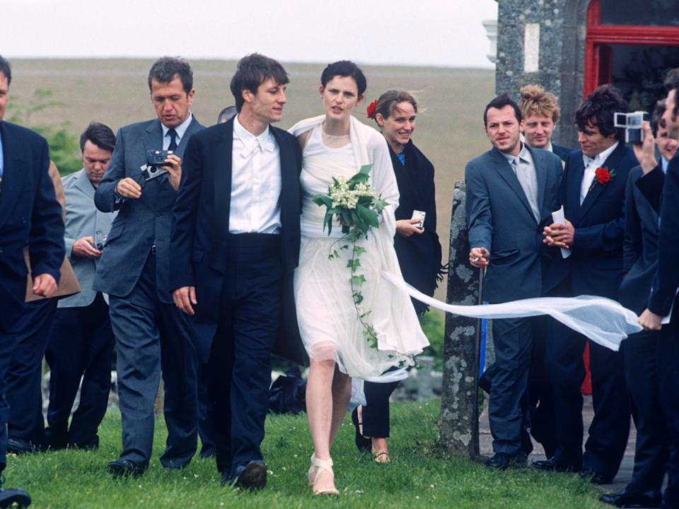 Tennant wore a Helmut Lang dress for her wedding to photographer David Lasnet in 1999Sutton Hibbert/REX