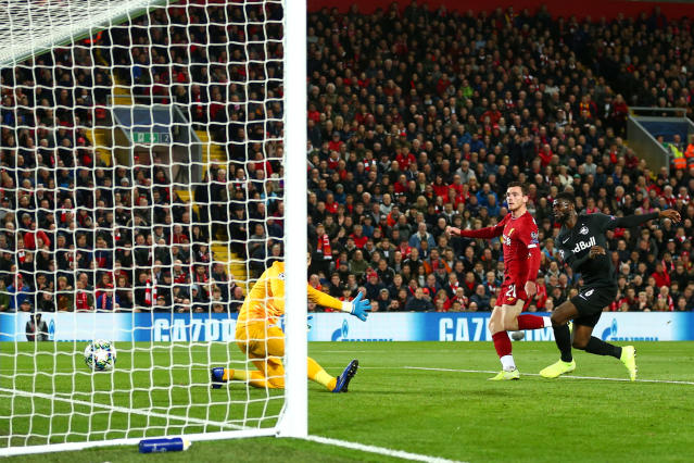 Andy Robertson makes it 2-0 to Liverpool. (Photo by Robbie Jay Barratt - AMA/Getty Images)