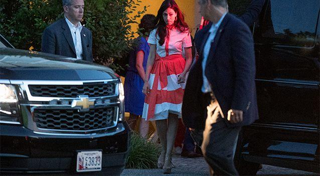 Hillary Clinton's senior aid Huma Abedin, center, departs a fundraiser at a private home in Southampton, N.Y. Abedin says she is separating from husband Anthony Weiner after another sexting revelation involving the former congressman from New York. Photo: AP