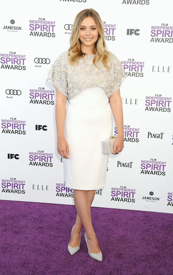 "Despite losing to Michelle Williams for Best Female Lead, Elizabeth Olsen (""Martha Marcy May Marlene"") still managed to shine in her splendid attire. What do you make of Miss Olsen's Antonio Berardi dress and Cesare Paciotti pumps?"