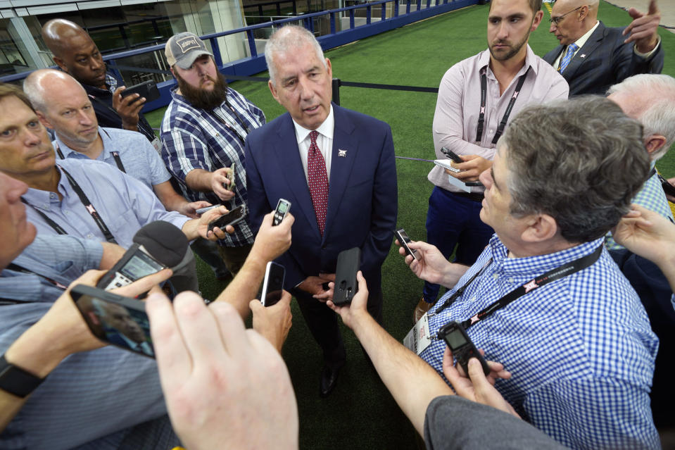Big 12 commissioner Bob Bowlsby speaks to reporters during NCAA college football Big 12 media days Wednesday, July 14, 2021, in Arlington, Texas. (AP Photo/LM Otero)