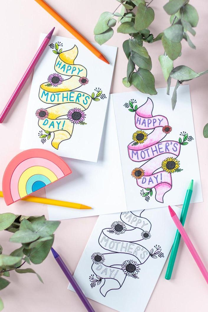 """<p>This simple printable leaves the decorating up to you for a personal touch on your Mother's Day card.</p><p><strong>Get the printable at <a href=""""https://www.clubcrafted.com/printable-mothers-day-card-coloring-page/"""" rel=""""nofollow noopener"""" target=""""_blank"""" data-ylk=""""slk:Club Crafted"""" class=""""link rapid-noclick-resp"""">Club Crafted</a>.</strong></p><p><strong><a class=""""link rapid-noclick-resp"""" href=""""https://www.amazon.com/Sargent-Art-Coloring-Assorted-22-7251/dp/B0027PA1AU/?tag=syn-yahoo-20&ascsubtag=%5Bartid%7C10050.g.3195%5Bsrc%7Cyahoo-us"""" rel=""""nofollow noopener"""" target=""""_blank"""" data-ylk=""""slk:SHOP COLORED PENCILS"""">SHOP COLORED PENCILS</a><br></strong></p>"""