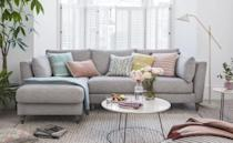 """<p>Unsurprisingly, the perennially popular grey was the most sought-after sofa colour of the year. Infinitely versatile, a neutral grey can be adapted for almost any home, with styles running the gamut from a traditional textured tweed to a modern tactile velvet. And it forms a brilliant base for heavy pattern. </p><p>Pictured: <a href=""""https://www.dfs.co.uk/claudette/cld74sude?skuId=3078978&origin=Exclusive_Brands"""" rel=""""nofollow noopener"""" target=""""_blank"""" data-ylk=""""slk:House Beautiful Claudette Sofa at DFS"""" class=""""link rapid-noclick-resp"""">House Beautiful Claudette Sofa at DFS</a></p>"""