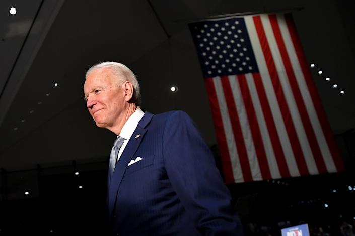 Democratic presidential hopeful former Vice President Joe Biden walks out after speaking at the National Constitution Center in Philadelphia, Pennsylvania on March 10, 2020. (Photo by Mandel NGAN / AFP) (Photo by MANDEL NGAN/AFP via Getty Images)