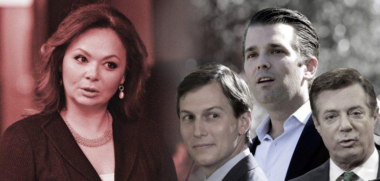 Russian lawyer Natalia Veselnitskaya, Jared Kushner, Donald Trump Jr. and Paul Manafort.