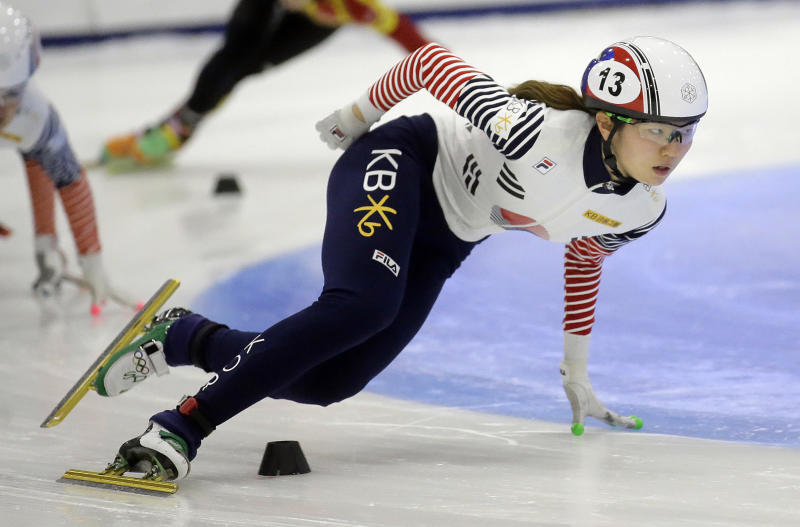 FILE - In this Nov. 13, 2016, file photo, first place finisher Shim Suk-hee, from South Korea, races during the women's 1,500-meter finals at a World Cup short track speedskating event at the Utah Olympic Oval in Kearns, Utah. More South Korean female skaters are saying they have been sexually abused by their coaches following explosive claims by two-time Olympic champion Shim that she had been raped by her former coach since she was a teen, according to group representing athletes on Monday, Jan. 21, 2019. (AP Photo/Rick Bowmer, File)