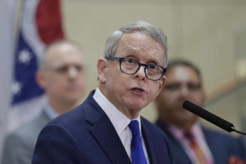Ohio Governor Mike DeWine gives an update at MetroHealth Medical Center on the state's preparedness and education efforts to limit the potential spread of a new virus which caused a disease called COVID-19 on Feb. 27, 2020, in Cleveland. (Tony Dejak/AP)
