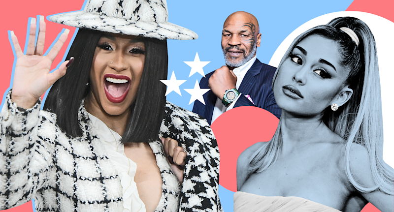 Cardi B, Mike Tyson and Ariana Grande have picked their candidates for the 2020 presidential election. (Photo: Getty Images/Graphic: Quinn Lemmers for Yahoo Entertainment)