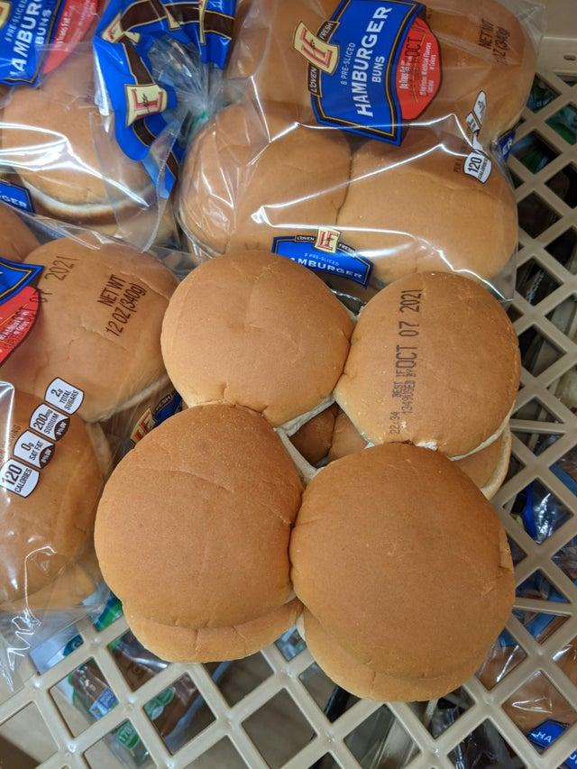 Burger buns with expiration date printed on them