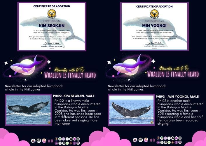 Kim Seokjin's whale is sponsored by ARMY Cavite and Only Bangtan PH; Min Yoongi's whale is sponsored by All For Yoongi PH and SUGA Rush Philippines