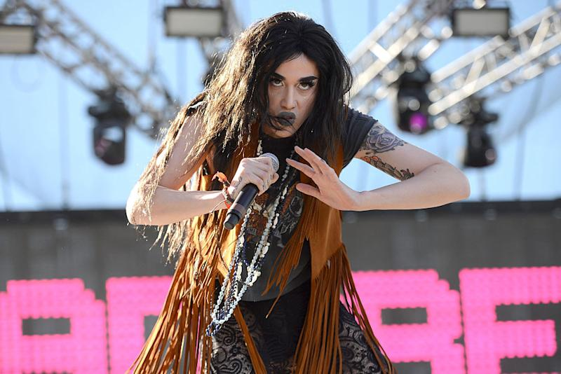 SANTA ANA, CA - OCTOBER 22: Drag queen and personality Adore Delano from the TV show Rupaul's Drag Race performs onstage during the Beach Goth Festival at The Observatory on October 22, 2016 in Santa Ana, California. (Photo by Scott Dudelson/Getty Images)