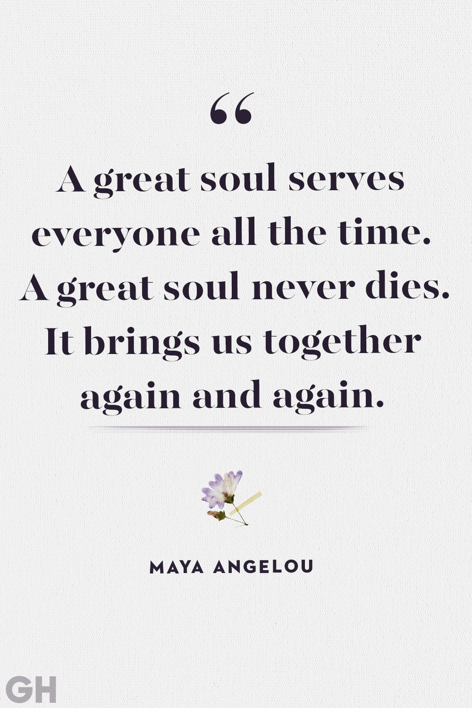 """<p>""""A great soul serves everyone all the time. A great soul never dies. It brings us together again and again.""""</p>"""