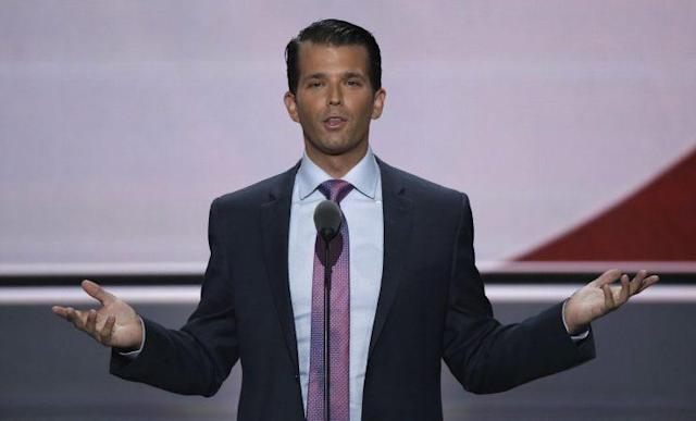Donald Trump Jr. speaks at the Republican National Convention in Cleveland, July 19, 2016. (Photo: Mike Segar/Reuters)