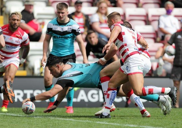 Andre Savelio scored his first career hat-trick in Hull FC's 64-22 victory at Leigh Centurions
