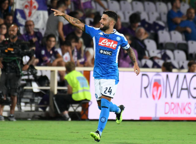 Napoli's forward Lorenzo Insigne celebrates scoring during the Italian Serie A soccer match between ACF Fiorentina and SSC Napoli at the Artemio Franchi stadium in Florence, Italy, Saturday Aug. 24, 2019. (Claudio Giovannini/ANSA via AP)
