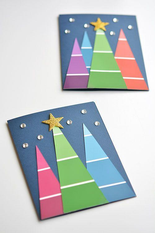 """<p>The gradient design makes paint chips the perfect craft supply for handmade holiday cards. Just cut them into triangles of varying sizes, then decorate with sequins or glitter. </p><p><em>Get the tutorial at <a href=""""https://onelittleproject.com/paint-chip-christmas-cards/"""" rel=""""nofollow noopener"""" target=""""_blank"""" data-ylk=""""slk:One Little Project"""" class=""""link rapid-noclick-resp"""">One Little Project</a>.</em></p><p><a class=""""link rapid-noclick-resp"""" href=""""https://www.amazon.com/Whaline-Sequins-Iridescent-Spangles-Decoration/dp/B073JCWS4V?tag=syn-yahoo-20&ascsubtag=%5Bartid%7C10072.g.34351112%5Bsrc%7Cyahoo-us"""" rel=""""nofollow noopener"""" target=""""_blank"""" data-ylk=""""slk:SHOP SEQUINS"""">SHOP SEQUINS</a></p>"""