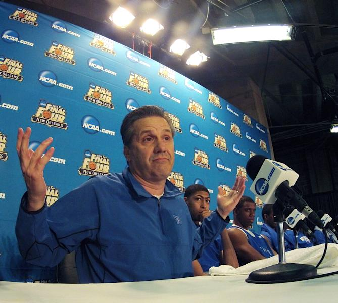 Kentucky head coach John Calipari speaks during a news conference for the NCAA Final Four tournament college basketball game Sunday, April 1, 2012, in New Orleans. Kentucky plays Kansas in the championship game Monday night. (AP Photo/David J. Phillip)
