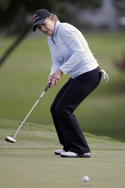 Cristie Kerr reacts to coming up short on her putt on the seventh hole during the first round of the North Texas LPGA Shootout golf tournament at the Las Colinas Country Club in Irving, Texas, Thursday, May 1, 2014. (AP Photo/LM Otero)