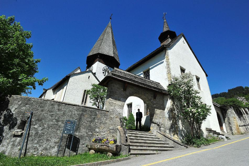A general view of Mauritiuskirche in Saanen, Switzerland.