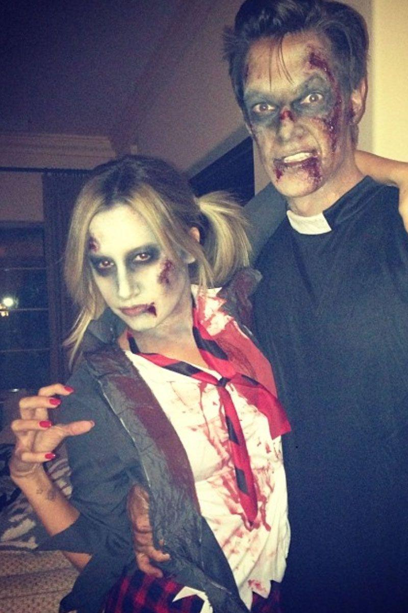 "<p>Tisdale as a ""...Baby One More Time"" zombie take of Britney Spears and French as a zombie priest.</p>"