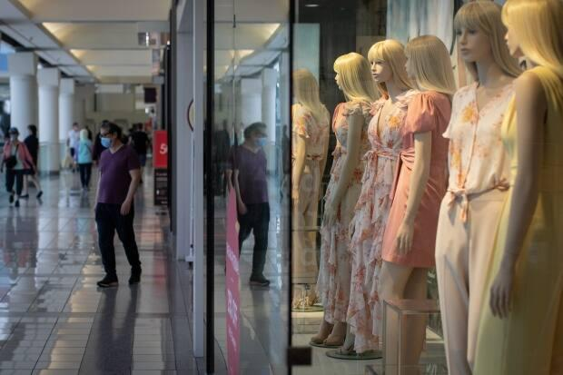 Shoppers at the Metrotown mall in Burnaby, B.C., in July 2020. (Maggie MacPherson/CBC - image credit)