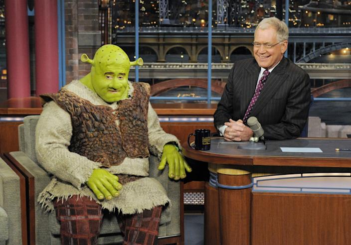 """Philbin dressed up as Shrek when he visited """"Late Show With David Letterman"""" on April 22, 2009. <span class=""""copyright"""">(Jeffrey R. Staab / CBS)</span>"""