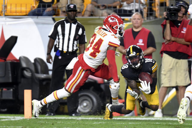 Pittsburgh Steelers wide receiver Diontae Johnson (18) looks to make a catch in front of Kansas City Chiefs cornerback Herb Miller (34) in the second half of a preseason NFL football game, Saturday, Aug. 17, 2019, in Pittsburgh. It was ruled a touchdown catch and was verified on review. (AP Photo/Barry Reeger)