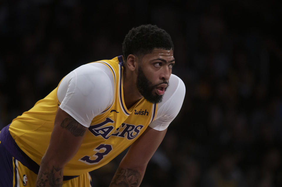 Los Angeles Lakers forward Anthony Davis in an NBA basketball game against the Memphis Grizzlies in Los Angeles, Tuesday, Oct. 29, 2019. (AP Photo/Kyusung Gong)
