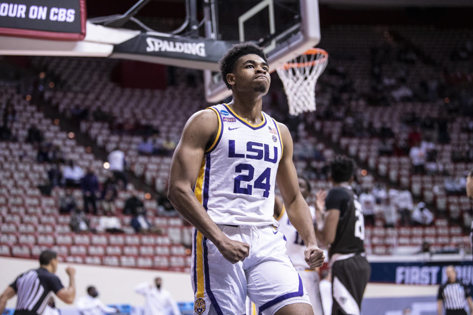 Cameron Thomas #24 of the LSU Tigers reacts in the first round of the 2021 NCAA Division I Mens Basketball Tournament against the St. Bonaventure Bonnies held at at Simon Skjodt Assembly Hall on March 20, 2021 in Bloomington, Indiana. (Photo by Ben Solomon/NCAA Photos via Getty Images)