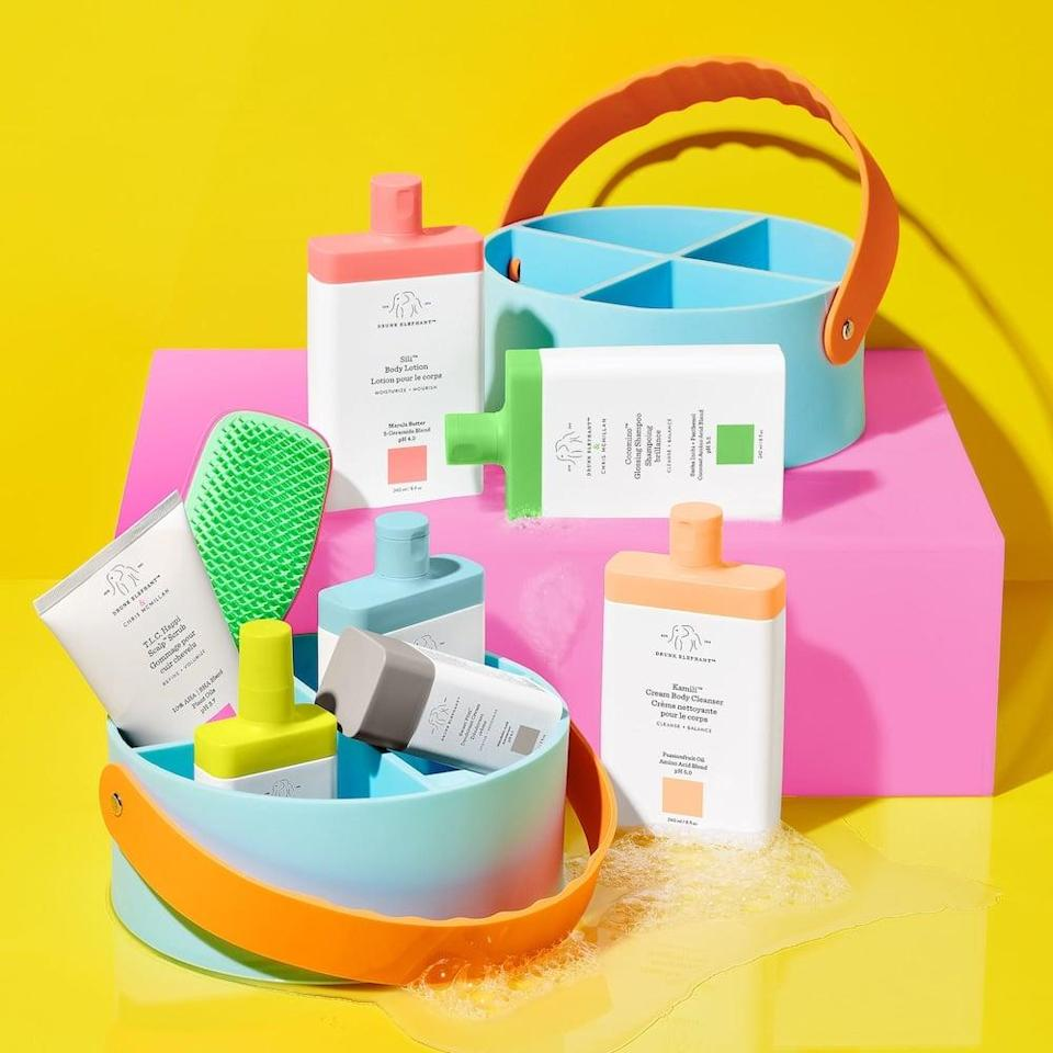 <p>The <span>Drunk Elephant Hair + Body Trunk 2.0 Value Set</span> ($135) is the perfect way to try out the brand's hair-care and body-care lines. It includes full-sizes of the Cocomino Glossing Shampoo, Cocomino Marula Cream Conditioner, T.L.C. Happi Scalp Scrub, Wild Marula Tangle Spray, Kamili Cream Body Cleanser, Sili Body Lotion, Sweet Pitti Deodorant Cream, a Drunk Elephant x Tangle Teezer Brush, and a cute shower caddy. Trust us, you'll want to try it too.</p>