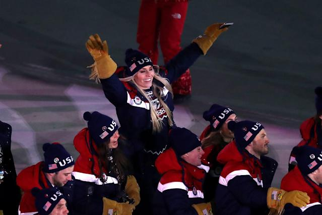 PYEONGCHANG-GUN, SOUTH KOREA – FEBRUARY 09: Lindsey Vonn, Alpine Skiier and The United States enter the stadium during the Opening Ceremony of the PyeongChang 2018 Winter Olympic Games. (Getty Images)