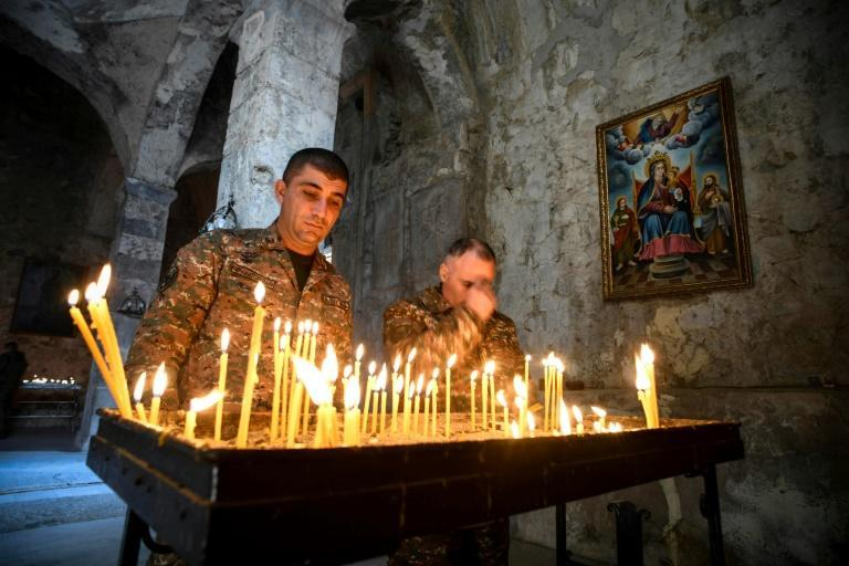 Armenian pay a final tribute to fallen comrades at the 12th-13th century Orthodox Dadivank Monastery