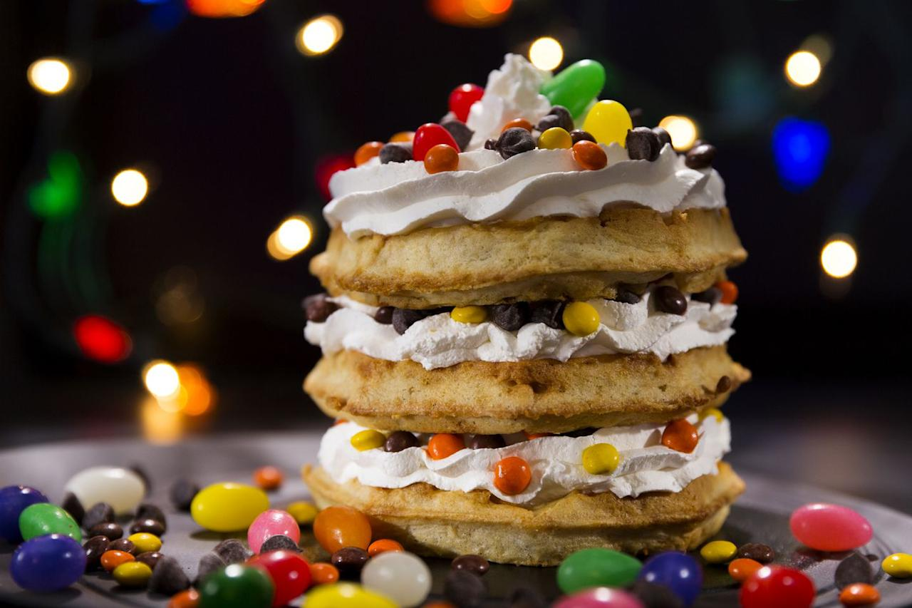 <p><strong>What is it?: </strong>Reese's Pieces, jelly beans, chocolate chips and whipped cream over three Kellogg's Eggo waffles</p>