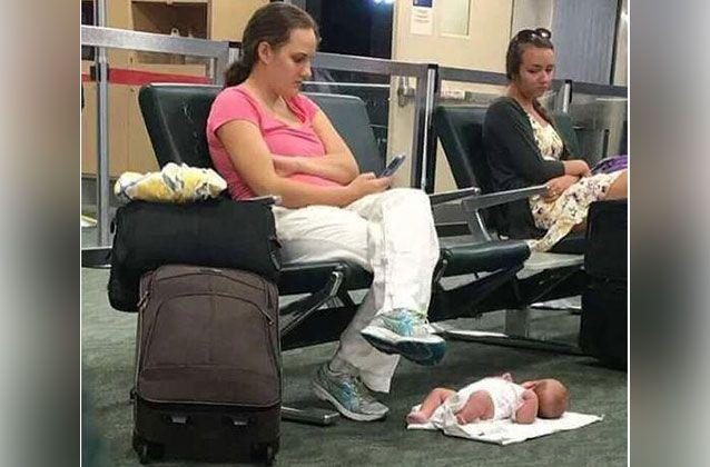 The US mother shamed on social media for texting while her baby lay on the floor at an airport said there was more to the story. Picture: Facebook
